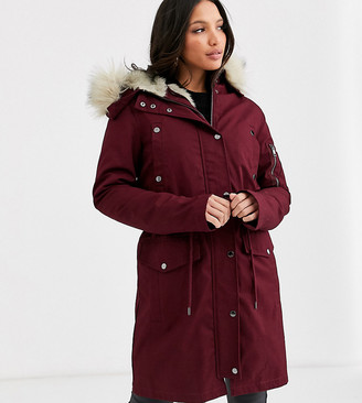 Asos Tall DESIGN Tall parka with detachable faux fur liner in oxblood-Purple