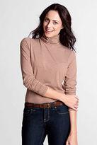 Lands' End Women's Regular Long Sleeve Stripe Lightweight Cotton Modal Turtleneck