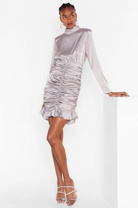 Nasty Gal Womens Chasin' the Ruche Satin Jacquard Dress - Grey - 4
