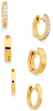 AVA NADRI 3-Pc. Set Cubic Zirconia Huggie Hoop Earrings
