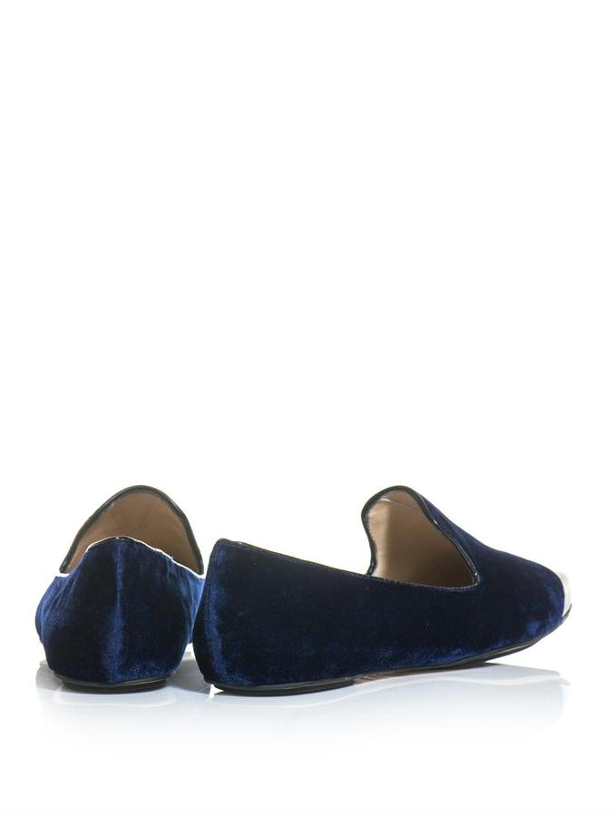 Lucy Choi London Metal-capped velvet slippers