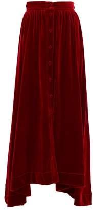 Raquel Diniz Dana Handkerchief-hem Silk-velvet Skirt - Womens - Red