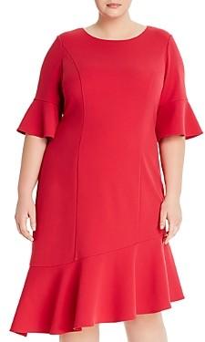 Adrianna Papell Asymmetric Knit Crepe Ruffled Dress