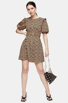 Topshop Womens Animal Print Puff Sleeve Mini Dress - Brown