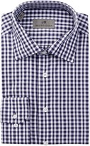 JB Britches Long Sleeve Trim Fit Gingham Dress Shirt