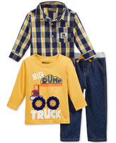 Nannette Baby Boys' 3-Pc. Dump Truck T-Shirt, Plaid Shirt & Jeans Set