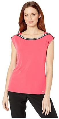 Calvin Klein Sleeveless Top with Piping At Neckline (Watermelon) Women's T Shirt
