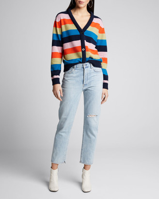 Kule The Remus Striped Button-Front Cashmere Sweater