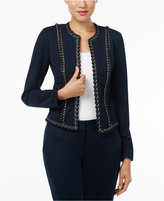 MICHAEL Michael Kors Cropped Leather-Trim Moto Jacket