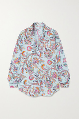 Etro Paisley-print Cotton-blend Oxford Shirt - Light blue