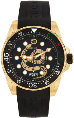 Gucci Black and Gold Snake Dive Watch