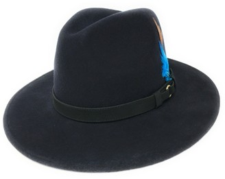 Cotswold Country Hats Womens Fedora Hat. Showerproof - Teflon Coated. Wool. Leather Belt Trim. Removable Feather (Large - 59cm