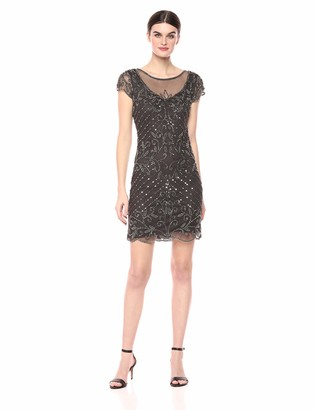 Pisarro Nights Women's Short Dress with Illusion Neck and a Placed Beaded Motif Grey 8