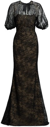 Lela Rose Chantilly Lace Blouson Gown