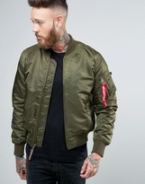 Alpha Industries Ma-1 Bomber Jacket Insulated In Slim Fit Dark Green