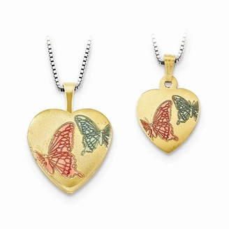 Curata Sterling Gold plated 16mm Enam Butterfly Angel Wings Love Heart Locket/12mm Pendant Necklace Jewelry Gifts for Women