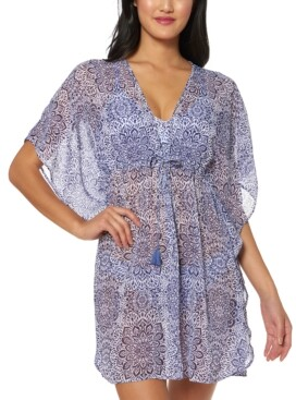 Jessica Simpson Printed Sheer Swim Cover-Up Dress Women's Swimsuit