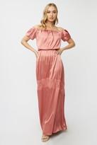 Little Mistress Bridesmaid Corrina Desert Rose Satin Bardot Maxi Dress