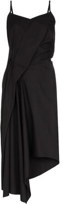 Marques Almeida Asymmetric Draped Midi Dress