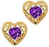 Gem Stone King 0.82 Ct Heart Shape Purple Amethyst and Diamond 18k Yellow Gold Earrings