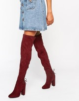 Public Desire Asha Burgundy Tie Back Heeled Over The Boots