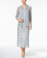 R & M Richards Petite Lace Dress & Draped Jacket