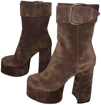 Saint Laurent Joplin Brown Suede Ankle boots