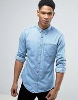 Esprit Denim Shirt In Slim Fit With Chest Pocket