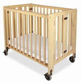 Foundations Hideaway Compact Folding Convertible Crib with Mattress
