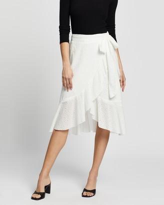 Atmos & Here Atmos&Here - Women's White Midi Skirts - Wrap Midi Skirt - Size 6 at The Iconic
