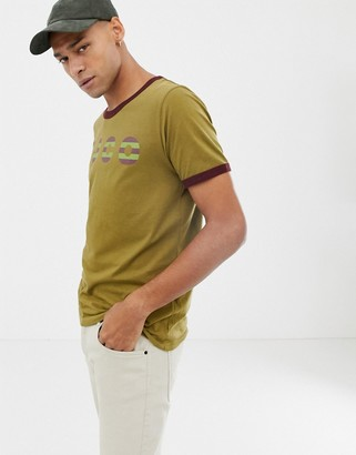 Nudie Jeans Kurt logo ringer t-shirt in khaki-Green