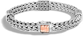 John Hardy Classic Chain 7.5MM Hammered Station Bracelet, Silver, 18K Rose