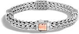 John Hardy Women's Classic Chain 7.5MM Hammered Station Bracelet, Sterling Silver, 18K Rose