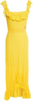 Just Cavalli Asymmetric Ruffled Ribbed-knit Midi Dress
