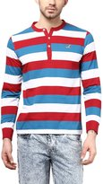 American Crew Striped Henley Full Sleeves T-Shirt - M (AC225-M)