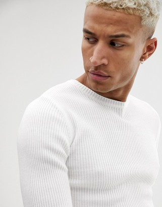 ASOS DESIGN muscle fit ribbed sweater in white