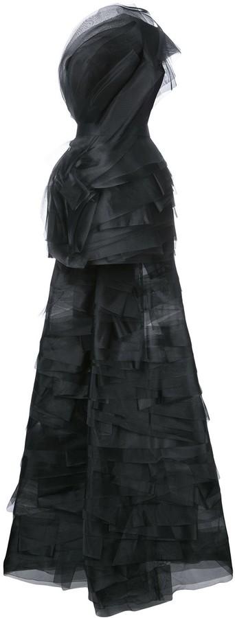 Isabel Sanchis Mesh Short Dress With Detachable Train
