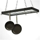 Rogar Gourmet Rectangular Black Metal with Chrome Pot Rack
