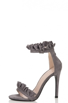 Quiz Grey Frill Barely There Heel Sandal
