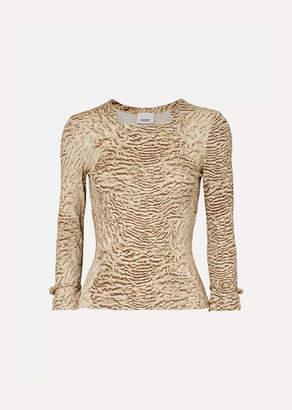 Burberry Animal-print Stretch-jersey Top - Beige