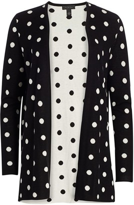 Saks Fifth Avenue Collection Silk Cashmere Polka Dot Jacquard Open Cardigan