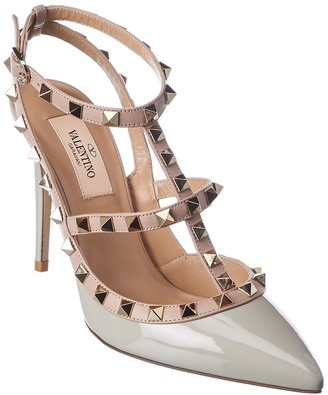 Valentino Rockstud Caged 100 Patent Ankle Strap Pump