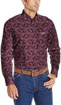 Wrangler Men's Tough Enough to Wear Pink Long Sleeve Woven Shirt