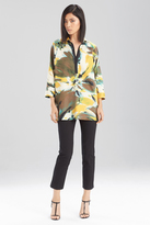 Josie Natori Printed Cotton Poplin Top