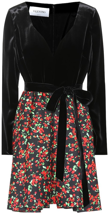 Valentino Floral-printed velvet and crepe dress