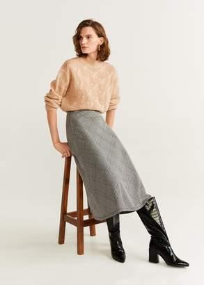 MANGO Checked midi skirt grey - XS - Women