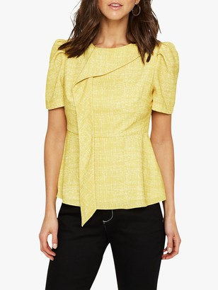 Damsel in a Dress Nanette Print Drape Blouse, Yellow