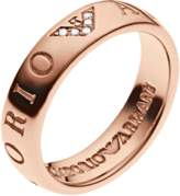 Emporio Armani Brand Slim Rose Gold Plated Ring - Ring Size P