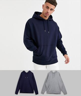 ASOS DESIGN oversized hoodie 2 pack navy / gray marl