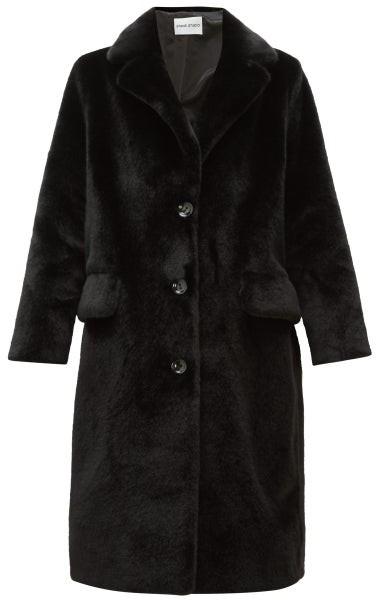 Stand Studio Theresa Single-breasted Faux-fur Coat - Black